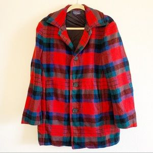 Pendleton   Wool Tartan Red Pea Coat L